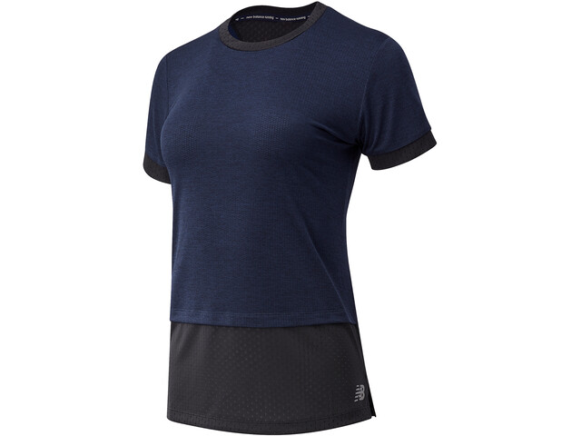 New Balance Impact Run Hybrid SS Shirt Women, azul/negro